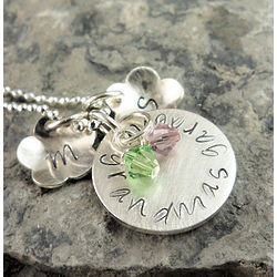Grandma's Flower Garden Personalized Hand Stamped Necklace
