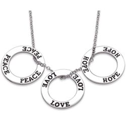 Sterling Silver Peace Love Hope Necklace