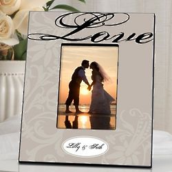 Floral Scroll Personalized Love Picture Frame