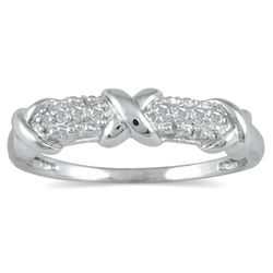 Diamond Hugs and Kisses 8-Stone Sterling Silver Ring