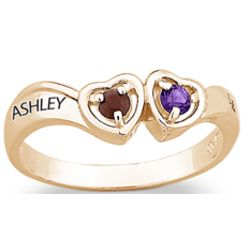 Gold Over Sterling Couple's Birthstone Hearts and Name Ring