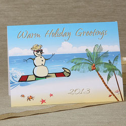 Tropical Beach Snowman Personalized Christmas Cards
