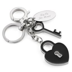 Heart Padlock and Key Keychain