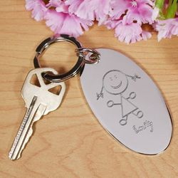 Engraved Stick Figure Child Key Chain