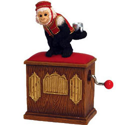 Witty Monkey with Fez on Organ Grinder Musical Figurine