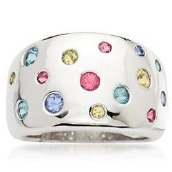 Multi-Gem Polka Dot Ring in Sterling Silver