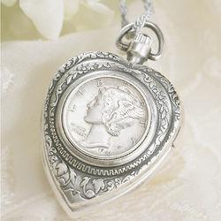 Silver Mercury Dime Heart Pendant Watch
