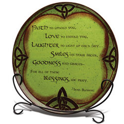 Celtic Irish Blessing Platter with Stand