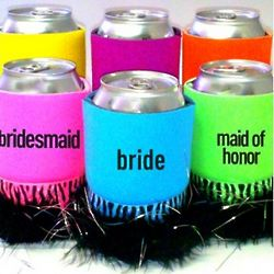 Personalized Fluffy Trimmed Koozie Can Covers