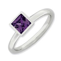Sterling Silver Purple Swarovski Crystal Ring