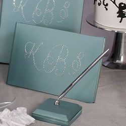Crystal Monogram Guest Book