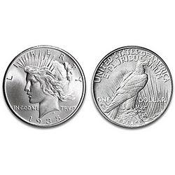1935 4 Ray Peace Silver Dollar Coin