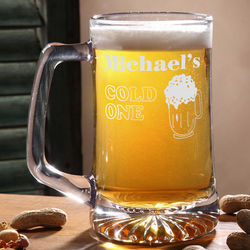 Cold One Personalized Glass Beer Mug