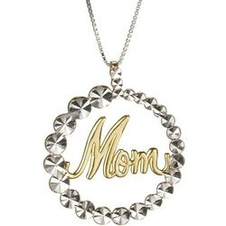 Script Mom Pendant in 14k Two-Tone Gold