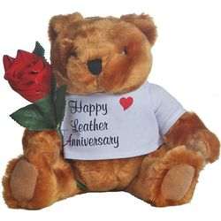 3rd Anniversary Teddy Bear with Leather Rose