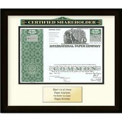 Framed International Paper Stock Certificate