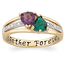 Personalized Couple's Birthstone Heart and Diamond Ring