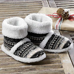 Ladies Muk Luks Fair Isle Sherpa Slipper Boot