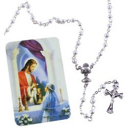 Girl's First Communion Rosary & Prayer Card