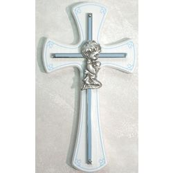Baby Boy's Cross on White Wood