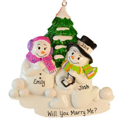 Snow Couple Male On Knees Engagement Ornament