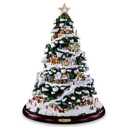 Thomas Kinkade Artificial Tabletop Village Christmas Tree