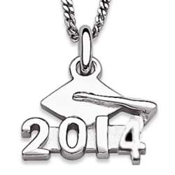 Rhodium Plated Sterling Silver 2014 Graduation Necklace