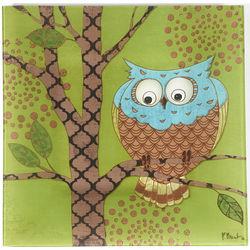 Owl Square Green Glass Platter