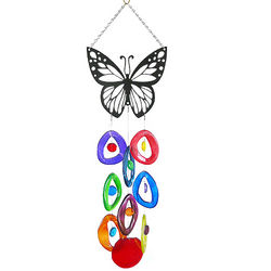 Glass Bottle Wind Chime with Butterfly Topper
