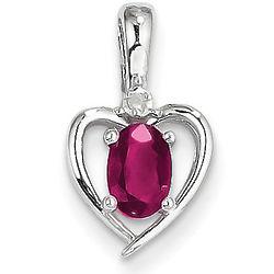 Ruby and Diamond White Gold Heart Birthstone Pendant