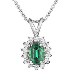 1/4+ Carat Diamond & Emerald Pendant in 18K White Gold