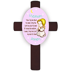 Personalized Blonde Girl's Bedtime Prayer Cross