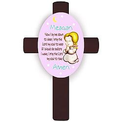 Personalized Blonde Girl's Bedtime Prayer Cross