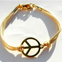 Peace Sign Bracelet in Cream
