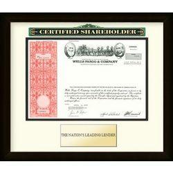 Framed Wells Fargo Stock Certificate