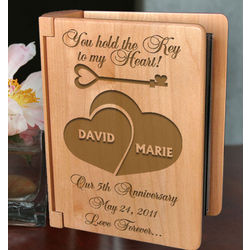 Personalized Key To My Heart Wooden Photo Album
