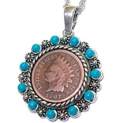 Indian Head Penny Pendant with Turquoise Beads