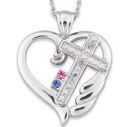 Sterling Silver Couples Diamond Cross Heart & Birthstone Necklace