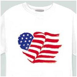 Heart American Flag Cotton T-Shirt