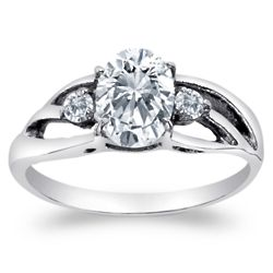 Stainless Steel Cubic Zirconia Trio Promise Ring
