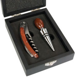 Classic Two Piece Wine Set in Black Wood Box