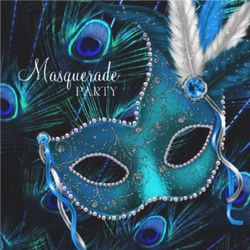 Personalized Peacock Mask Masquerade Party Announcement