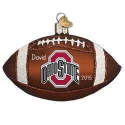 Ohio State Buckeyes Football Personalized Glass Ornament