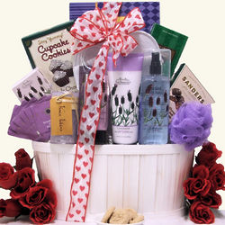 Valentine's Day Lavender Spa Pleasures Bath & Body Gift Basket