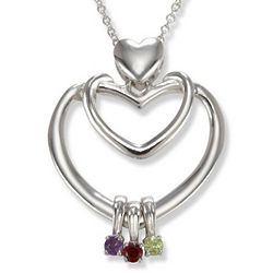 Double Heart Family Bond Charm Necklace with Genuine Birthstones