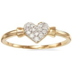 Diamond Heart Promise Ring in 14kt Gold