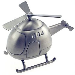 Personalized Pewter Finish Helicopter Bank