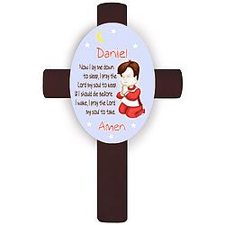 Personalized Brunette Boy's Bedtime Prayer Cross