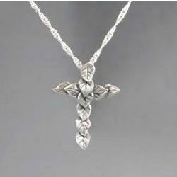 Sterling Silver Leaf Cross Necklace
