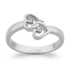 Diamond Heart Engraved Promise Ring
